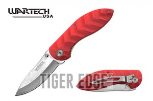 Folding Pocket Knife | Wartech Red Silver Blade Low-Cost Durable Utility EDC