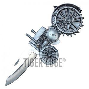 Folding Pocket Knife | Silver Blade Gray Farmer Tractor NoveltyYC30719