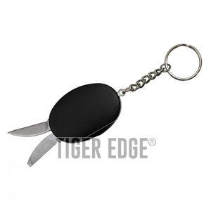 Mini Keychain Multi-Tool Knife Blade, File, Bottle Opener - Black
