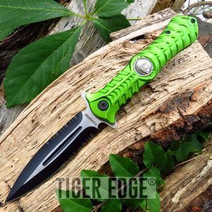Z-Hunter Green Biohazard Zombie Stiletto Spring-Assisted Folding Knife