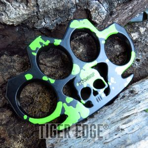 Z-hunter Zombie Green and Black Brass Knuckle Skull Belt Buckle One Size