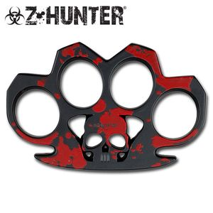 Z-hunter Zombie Red and Black Brass Knuckle Skull Belt Buckle One Size