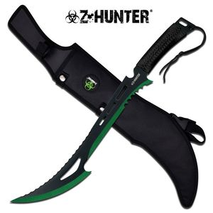 Z-Hunter Zombie Green, Black Fantasy Sawback Machete Slasher Sword w/ Sheath