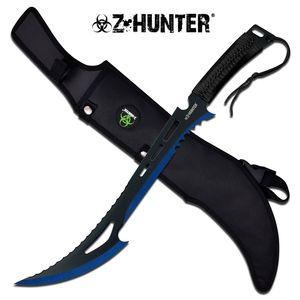 Z-Hunter Zombie Blue, Black Fantasy Sawback Machete Slashing Sword w/ Sheath