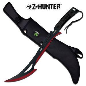 Z-Hunter Zombie Red & Black Fantasy Sawback Machete Slashing Sword w/ Sheath