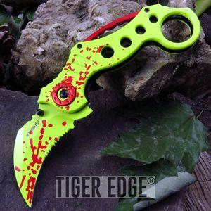 Z-Hunter Zombie Slayer Blood Splatter Karambit Spring-Assisted Folding Knife