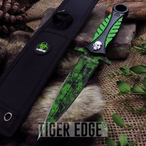 ZHunter Zombie Green Skull Dagger Double-sided Knife Tactical Defense Blade