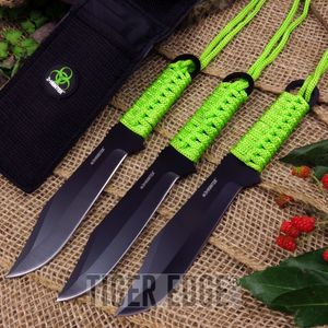 Z-Hunter Zombie 3-Pc. Black Drop Point Green Paracord Throwing Knife Set