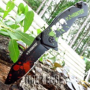 Z-Hunter Red Green Blood Splatter Zombie Black Spring Assisted Folding Knife