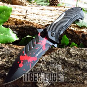Spring Assisted Black Red Zombie Blood Folding Knife Walking Dead Z-Hunter