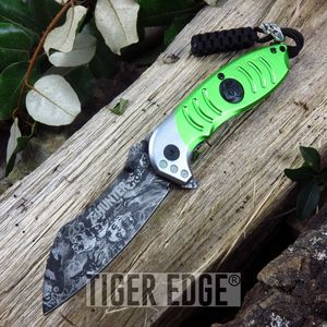 Z-Hunter Green Grey Razor Style Spring Assist Folding Knife Zombie Dead
