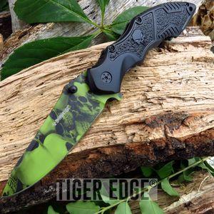 Z-Hunter Green Zombie Skull Blade Black Handle Spring Assisted Folding Knife