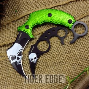 Z-Hunter Green & White Zombie Fighting Karambit Two Piece Knife Set Curved