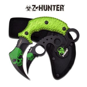 Z-Hunter Green Zombie Fighting Karambit Two Piece Knife Set Curved Blade