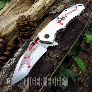Z-Hunter Silver Blood Splatter Zombie Tanto Spring Assisted Folding Knife