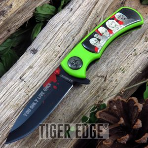 Z-Hunter Black Green Zombie Horde Spring Assist Folding Knife Pocket Blade