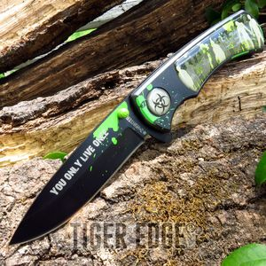 Z-Hunter Black Camo Zombie Horde Spring Assist Folding Knife Pocket Blade