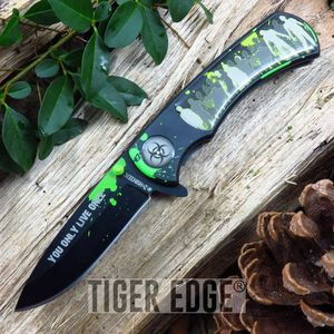 Z-Hunter Green Black Zombie Horde Spring Assist Folding Knife Pocket Blade