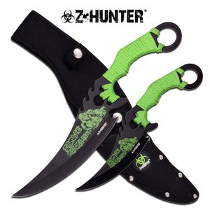 Z-Hunter Dual Twin Fantasy Fixed Blade Knife Set w/ Sheath Zombie Response