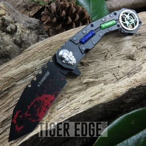 SPRING-ASSIST FOLDING POCKET KNIFE Z-Hunter Stonewash Red Tactical Tanto Zombie