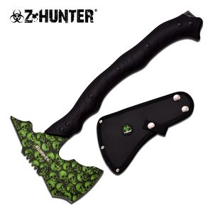 Z-Hunter Green Skull Zombie Hacker Full Tang Tactical Axe Hatchet Tomahawk