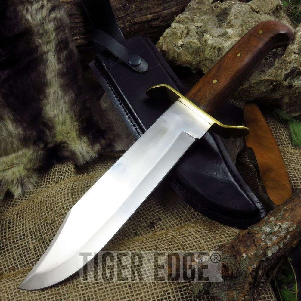 "Fixed-Blade Bowie Knife | 15"" Classic Brass Guard Fighting Blade With Sheath"
