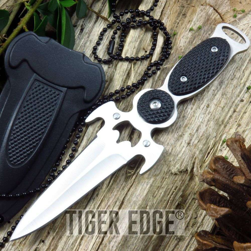 "6"" Full Tang Tactical Defense Neck Knife W/ Hard Sheath"