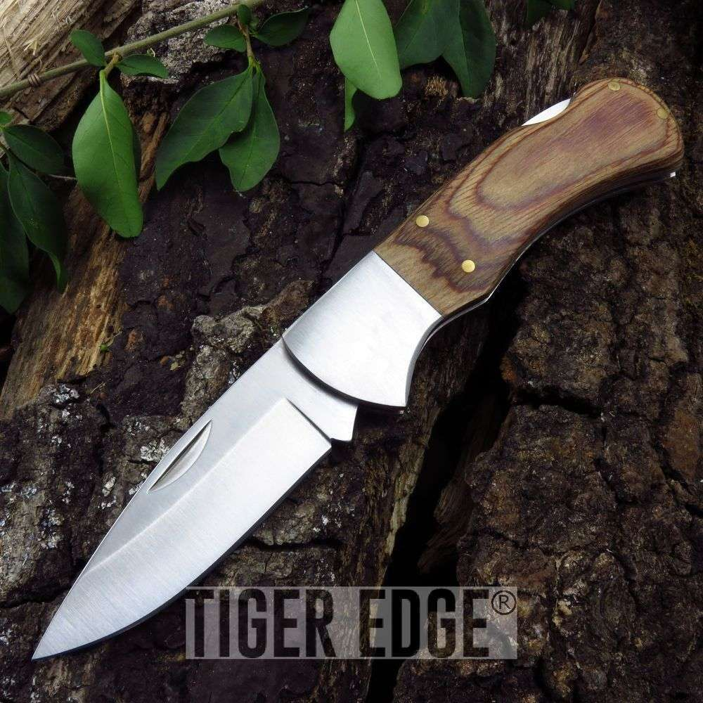 "4"" Light Wood Handle Lockback Tracker Folding Pocket Knife W/ Black Sheath"