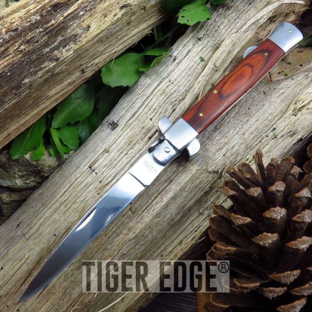 "Rite Edge 4.5"" Blade Lockback Wood Handle Stiletto Folding Knife"