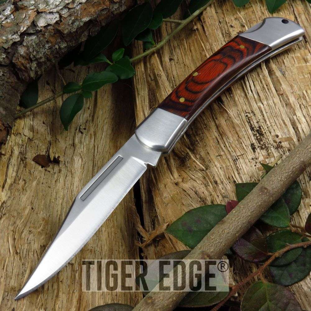"5"" Classic Rosewood Lockback Folding Pocket Knife"
