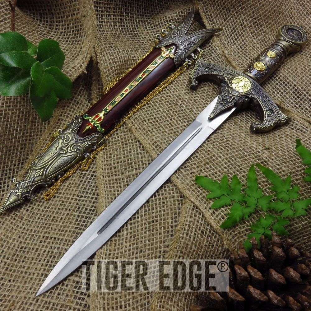 "17"" Medieval Royal Double Edged Dagger w/ Scabbard"