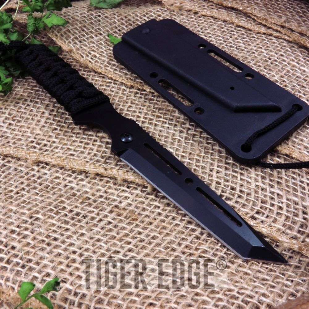 "8"" Slick Sniper Full Tang Tactical Defense Neck Knife W/ Hard Sheath"