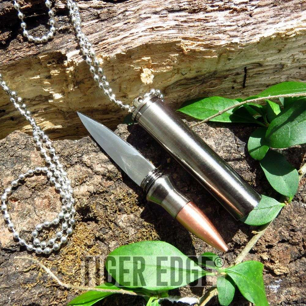 "Fixed-Blade Neck Knife | 3"" Tactical Self-Defense 30-06 Rifle Bullet Necklace"