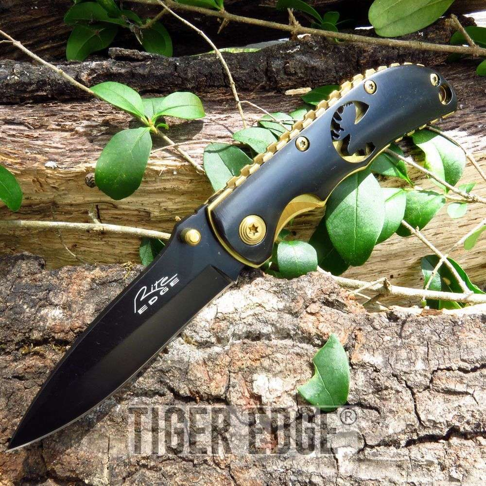 Wildlife Elk Black And Gold Folding Pocket Knife