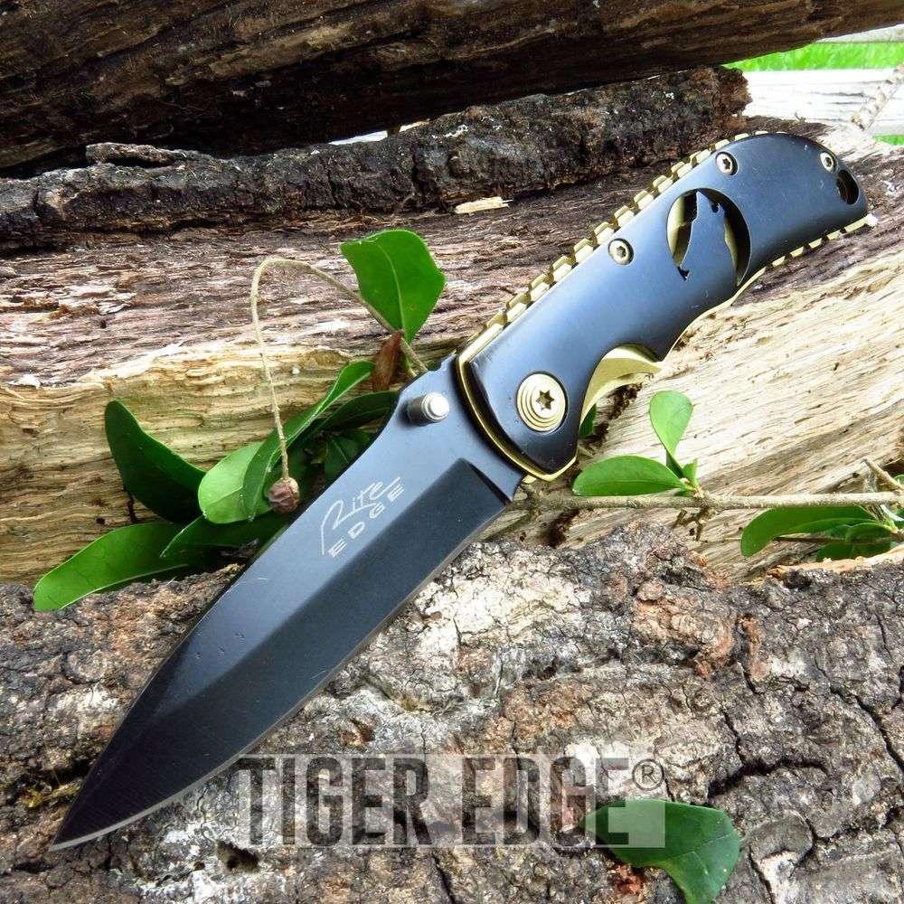 Wildlife Wolf Black And Gold Folding Pocket Knife