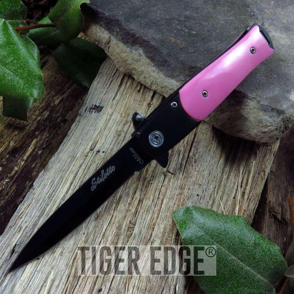Spring-Assist Folding Pocket Knife | Pink Black Stiletto Blade Women Tactical