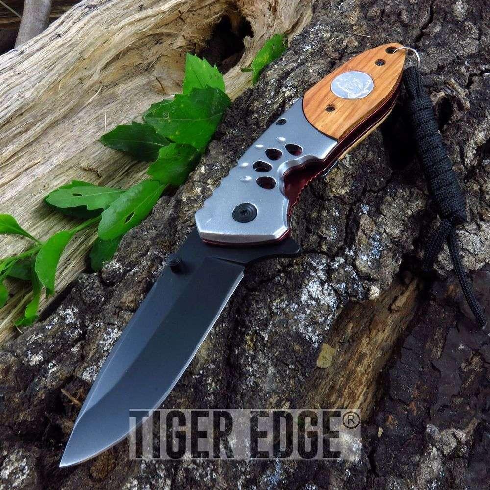 Spring-Assist Folding Pocket Knife | Black Blade Wood Wolf Tactical Hunting