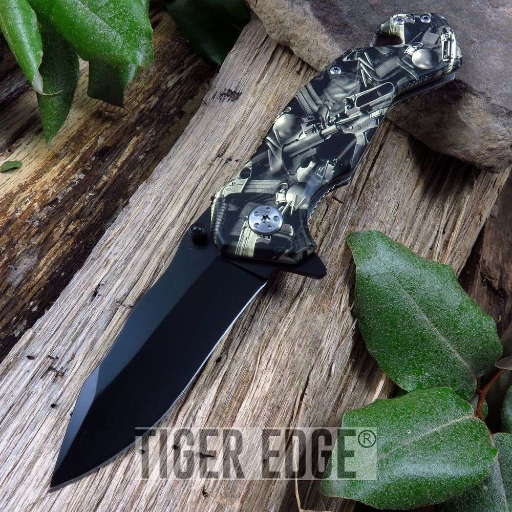 Spring-Assist Folding Pocket Knife   Tactical Military Assault Rifle Black Blade