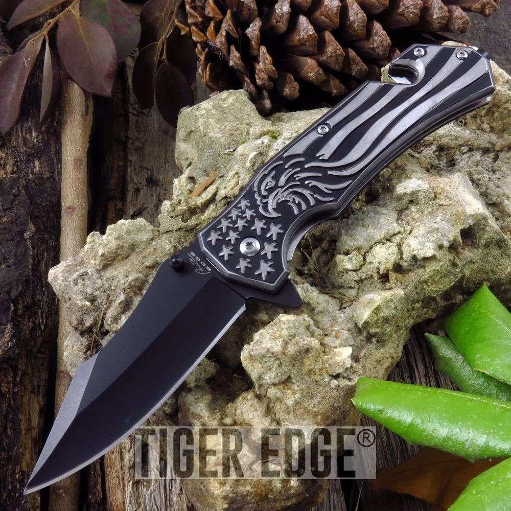 Spring Assisted Folding Knife Eagle Black American Flag Tactical Edc 300371-Bk