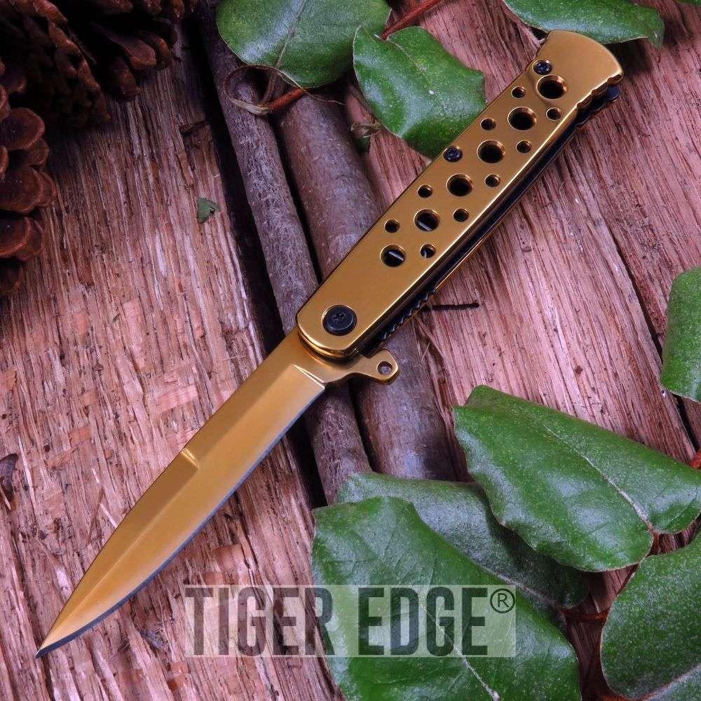 Spring Assist Folding Pocket Knife Gold Stiletto Dagger Blade Tactical Edc