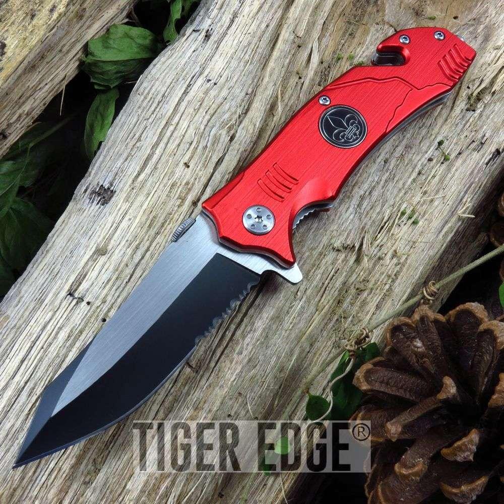 Spring Assist Folding Pocket Knife New Orleans Red Black Gold Fleur De Lis Edc