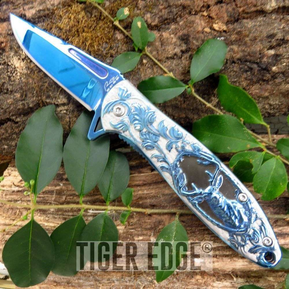 Spring Assist Folding Pocket Knife Blue Silver Deer Hunter Skinner 300385-Bl