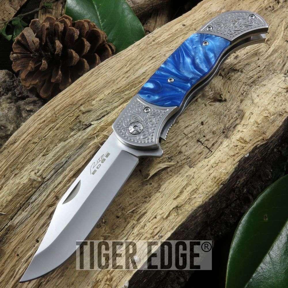 Spring Assist Folding Pocket Knife Silver Blade Marble Engraved 300386-Wd