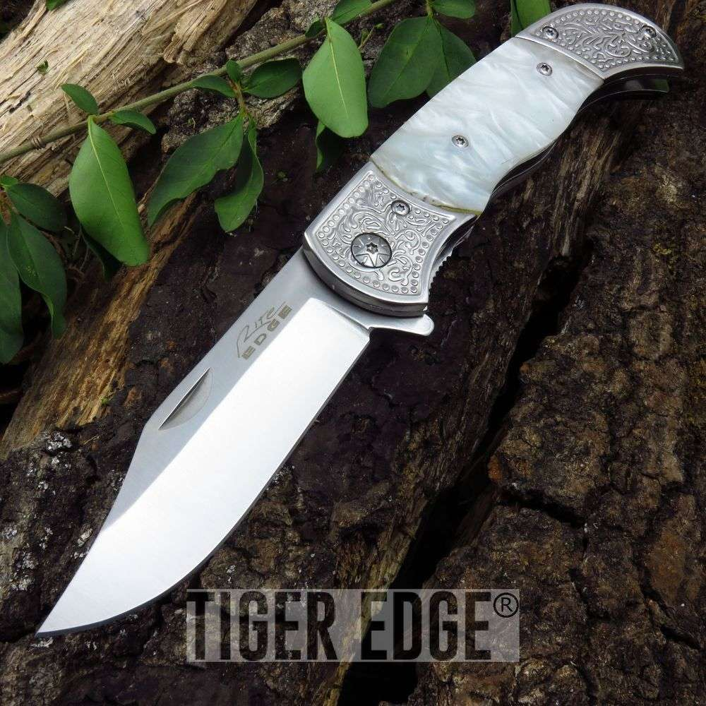 Folding Pocket Knife Rite Edge Gentleman White Pearl Engraved 300386-Wh