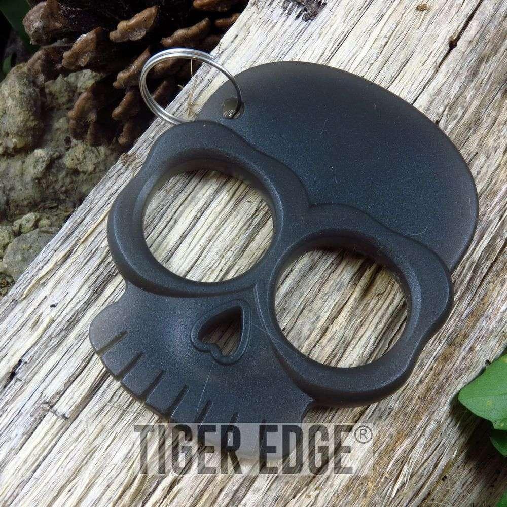 Zombie Dark Grey Abs Hard Plastic Knuckle Self Defense Keychain