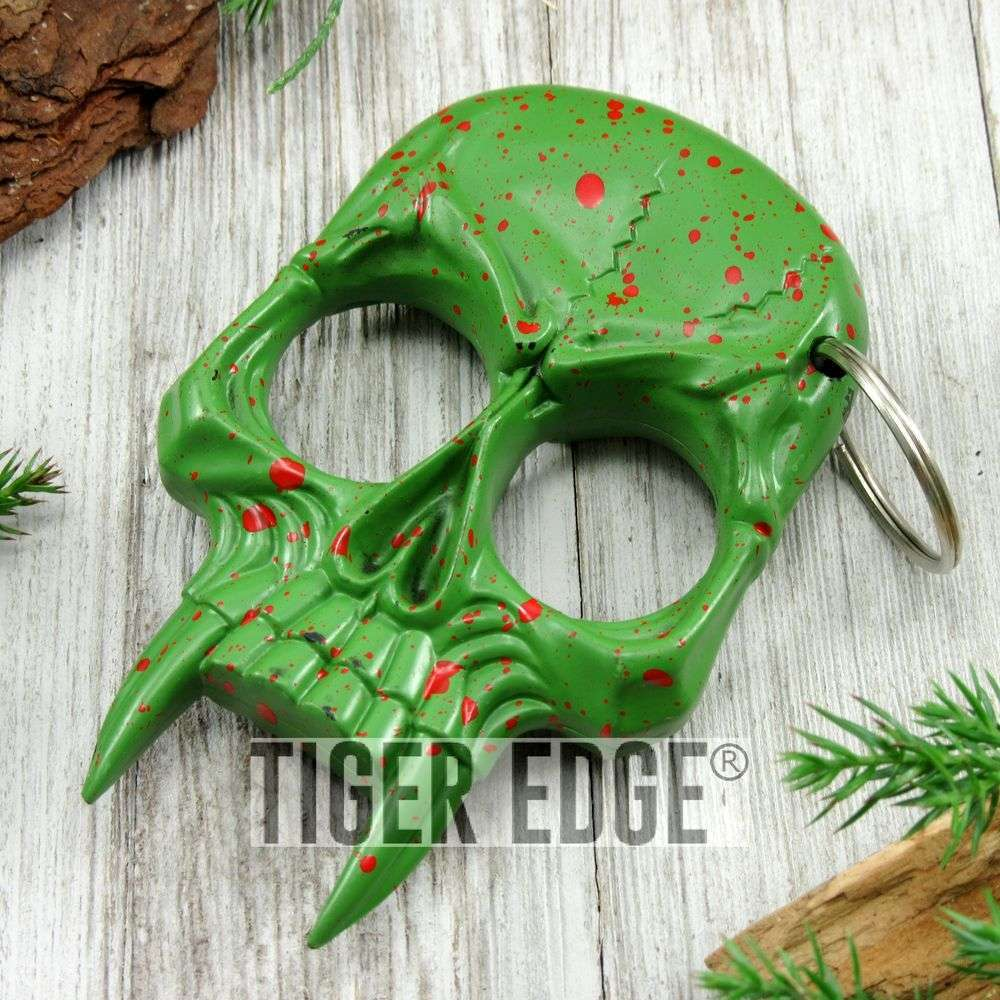Green Zombie Skull Hard Nylon Fiber Knuckle Defense Keyring