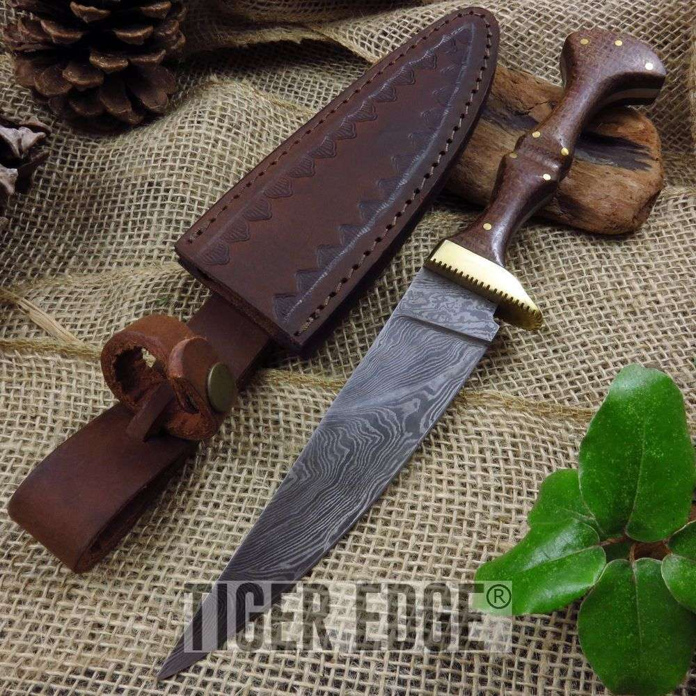 Damascus Steel Brown Micarta Handle Wizard's Dagger Knife w/ Leather Sheath