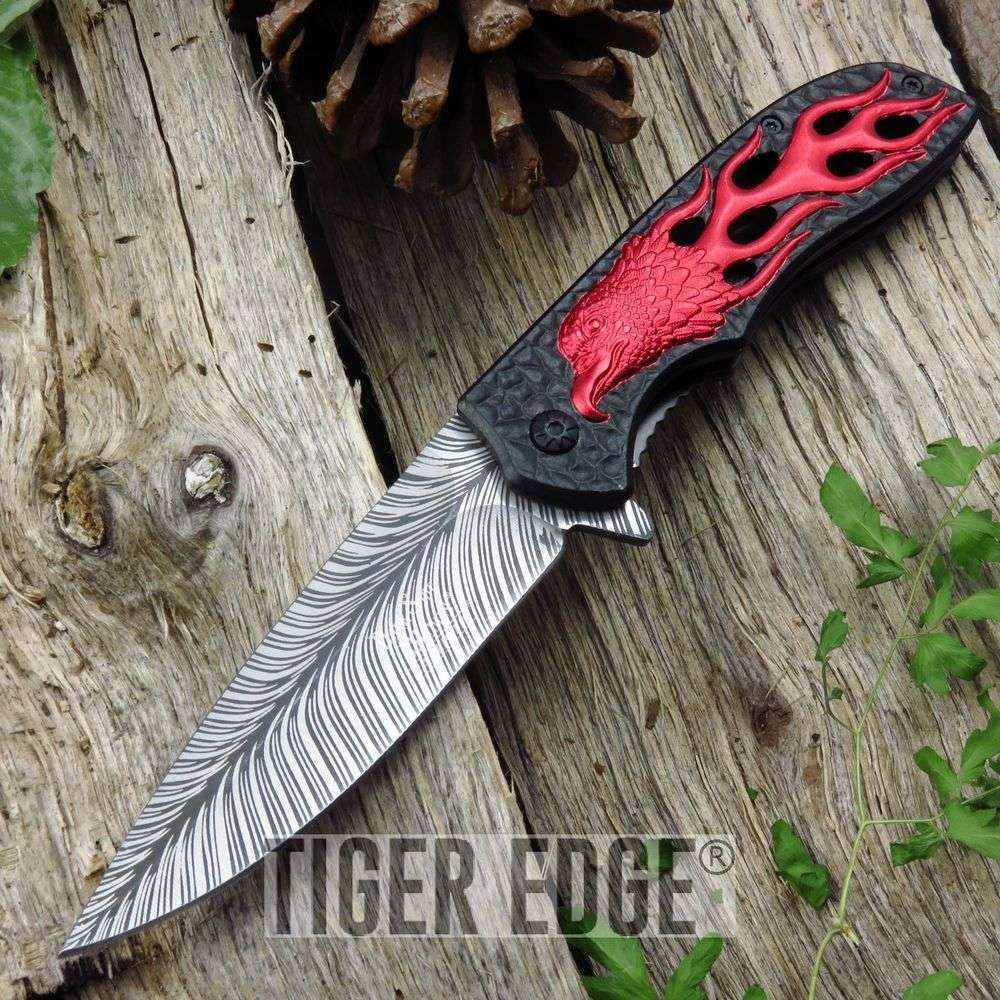 Spring-Assist Folding Pocket Knife Red Black Fire Eagle Feather Fantasy Tactical