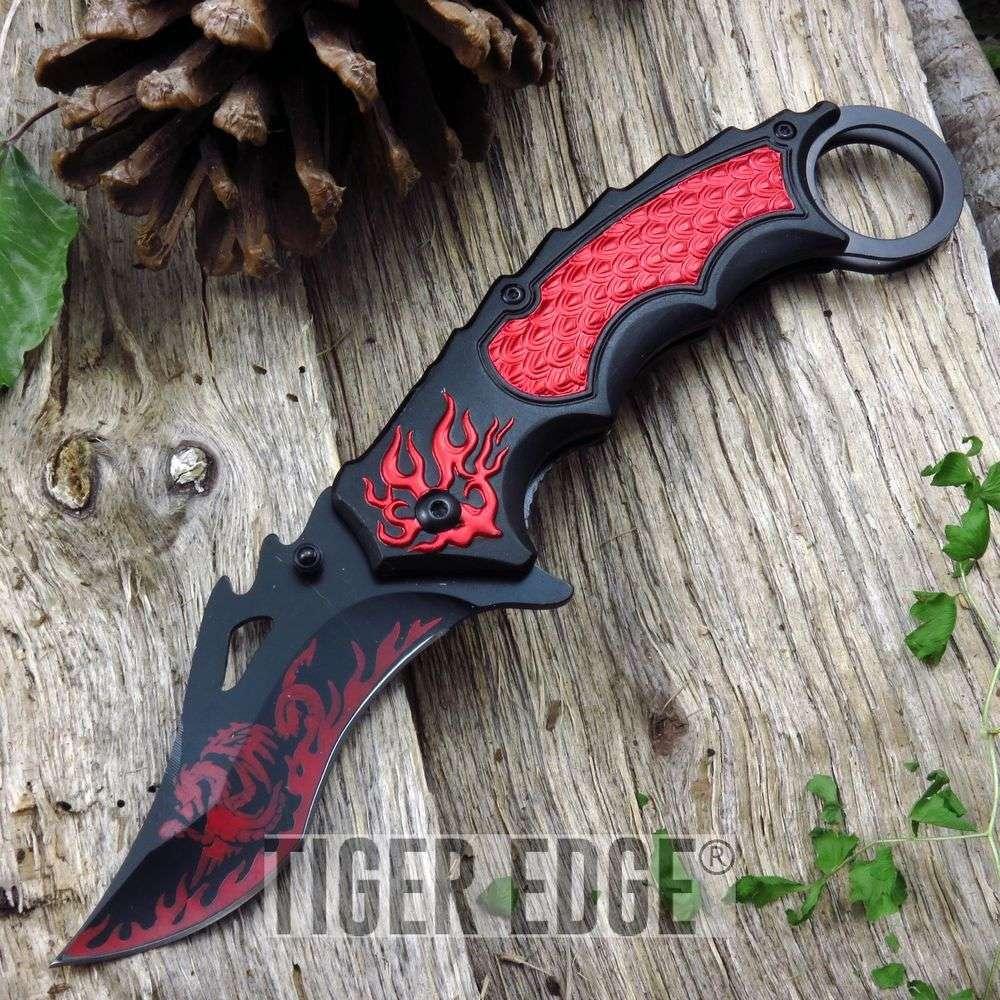 Spring Assist Folding Pocket Knife Black Red Fire Dragon