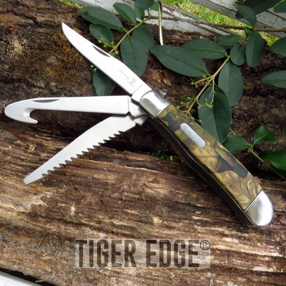 Elk Ridge Camo Multi-Tool Knife, Gut Hook, Saw